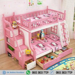 Kasur Anak Tingkat Putih Pink Hello Kitty