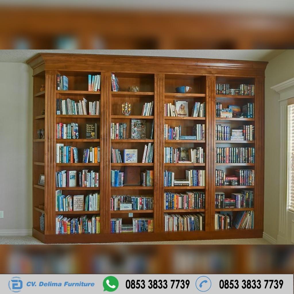 Lemari Buku Arsip Minimalis Kayu Jati