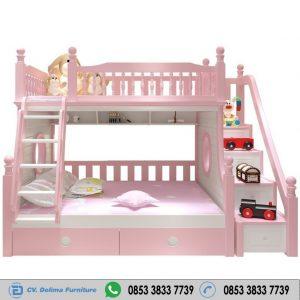 Ranjang Tingkat Putih Pink Modern Berkualitas