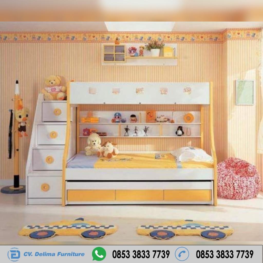Tempat Tidur Tingkat Orange Kombinasi Putih