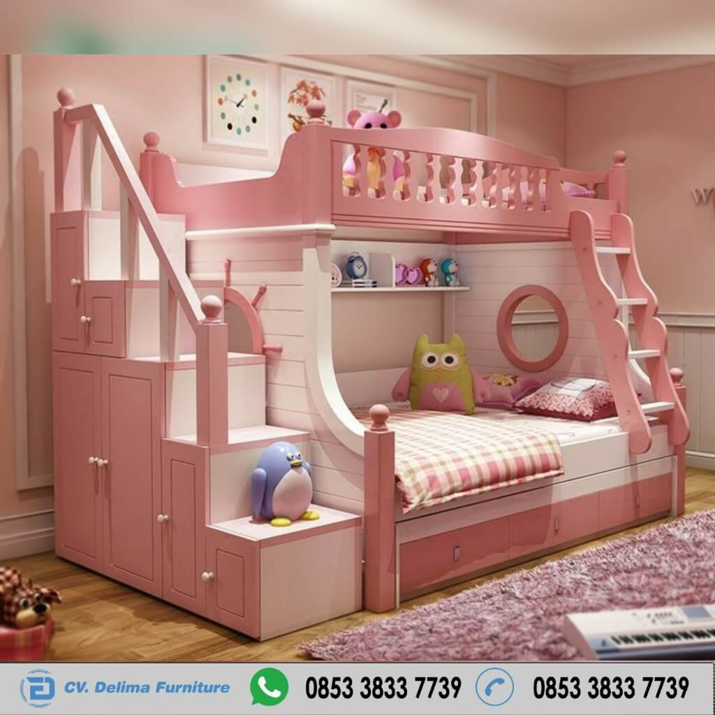 Tempat Tidur Tingkat Putih Pink Tangga Lemari