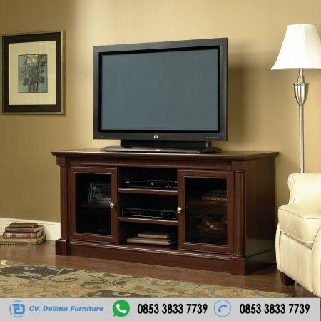 Bufet Tv Pintu Transparan Kayu Jati Minimalis