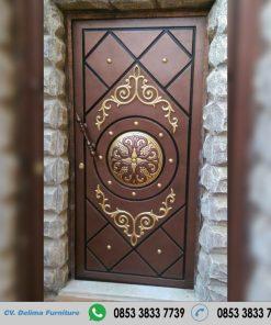 Pintu Single Desain Ukiran Jati Jepara Modern