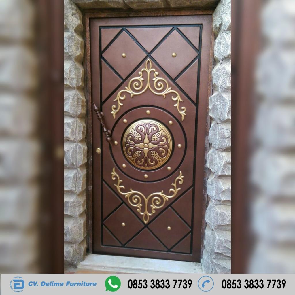 Pintu Single Desain Ukiran Jati Jepara Modern Toko Furniture