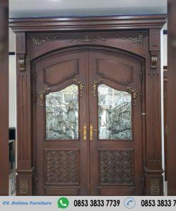Pintu Kupu Tarung Model Minimalis Kayu Jati Terbaru